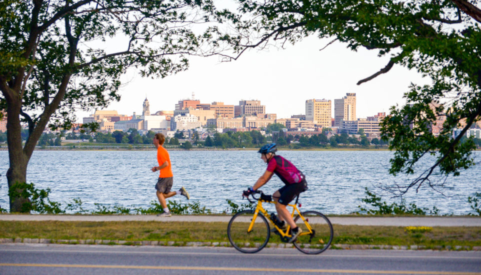cycling and jogging, Portland, ME