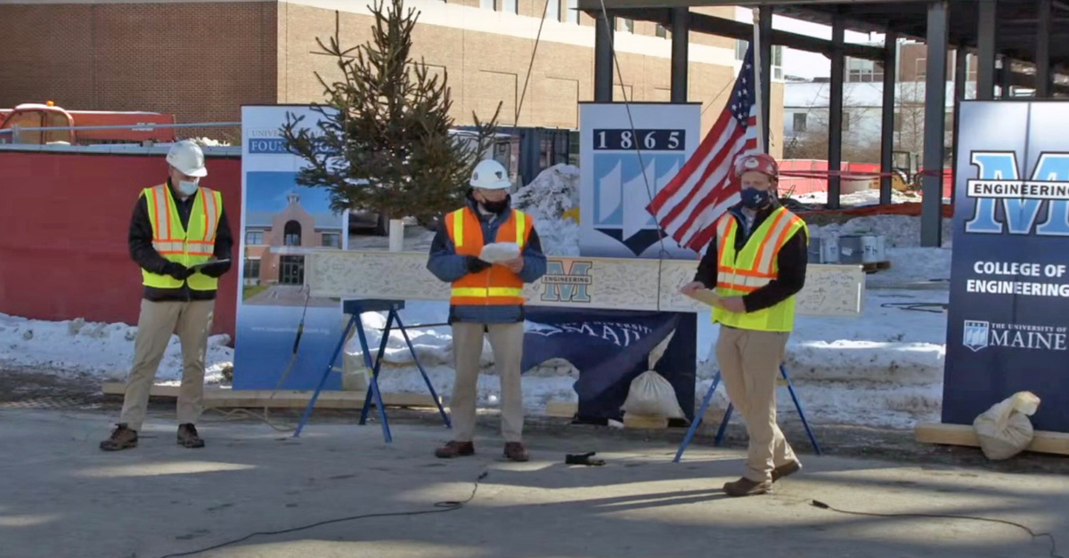 Photo of hosts for UMaine Ferland EEDC topping off ceremony