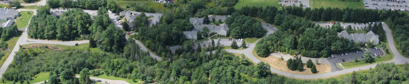 Aerial view showing the five buildings distributed throughout the site