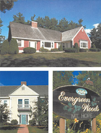 Actual buildings and entry sign of Evergreen Woods