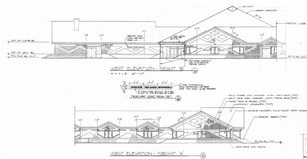 Indian Island School East-West Elevation